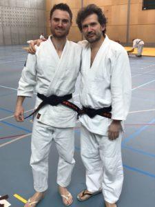Jonathan (à gauche) avec Ricardo (Uke pour l'examen)