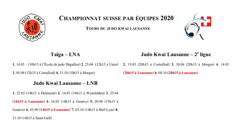 Championnat suisse par équipes 2020 – Les tours du JKL
