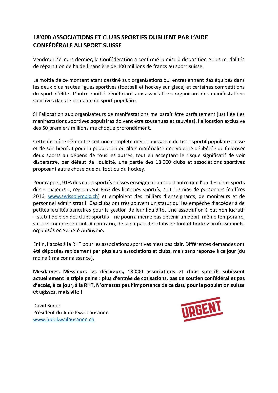 18'000 ASSOCIATIONS ET CLUBS SPORTIFS OUBLIÉS PAR L'AIDE CONFÉDÉRALE AU SPORT SUISSE